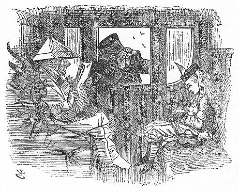 イラスト: 列車の中で