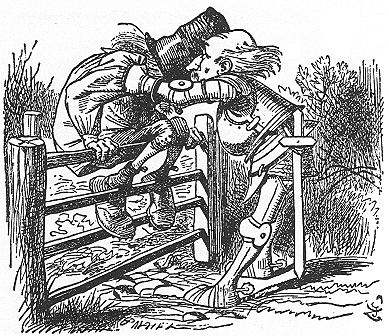 イラスト: 門にすわったおじいさん